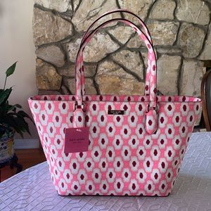 🔥KATE SPADE NWT Tote bag pink & white